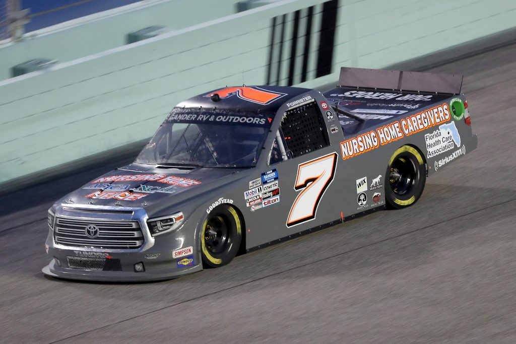 HOMESTEAD, FLORIDA - JUNE 13: Korbin Forrister, driver of the #7 Healthcare Heroes Toyota, races during the NASCAR Gander RV & Outdoors Truck Series Baptist Health 200 at Homestead-Miami Speedway on June 13, 2020 in Homestead, Florida. (Photo by Chris Graythen/Getty Images) | Getty Images