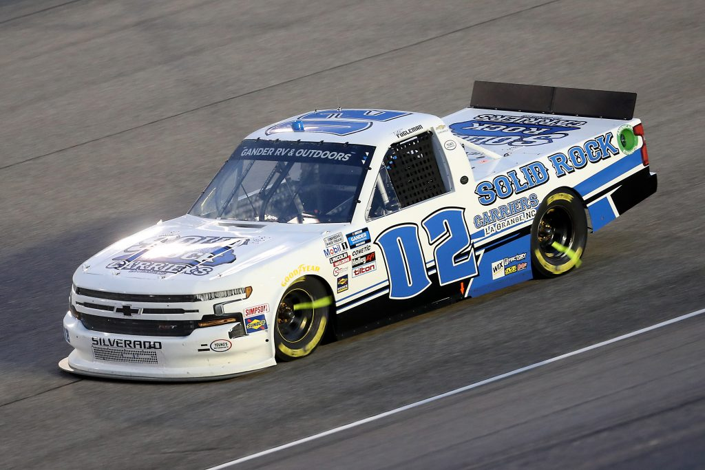 HOMESTEAD, FLORIDA - JUNE 13: Tate Fogleman, driver of the #02 Solid Rock Carriers Chevrolet, races during the NASCAR Gander RV & Outdoors Truck Series Baptist Health 200 at Homestead-Miami Speedway on June 13, 2020 in Homestead, Florida. (Photo by Chris Graythen/Getty Images) | Getty Images