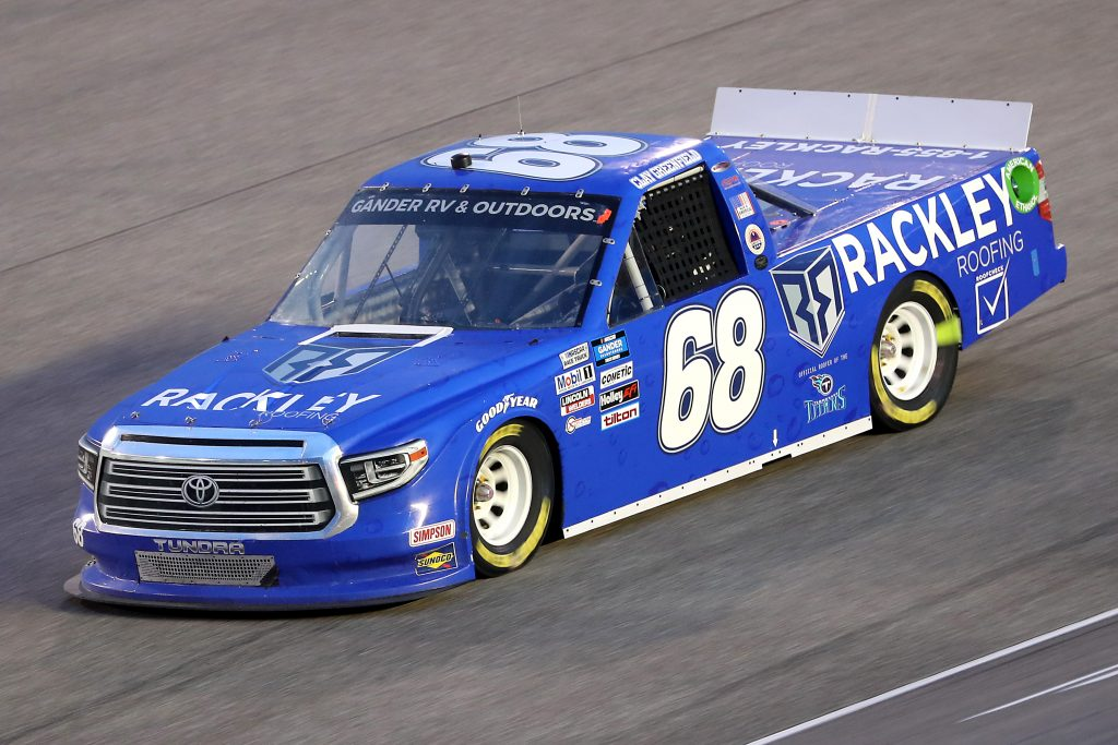 HOMESTEAD, FLORIDA - JUNE 13: Clay Greenfield, driver of the #68 Rackley Roofing Toyota, races during the NASCAR Gander RV & Outdoors Truck Series Baptist Health 200 at Homestead-Miami Speedway on June 13, 2020 in Homestead, Florida. (Photo by Chris Graythen/Getty Images) | Getty Images