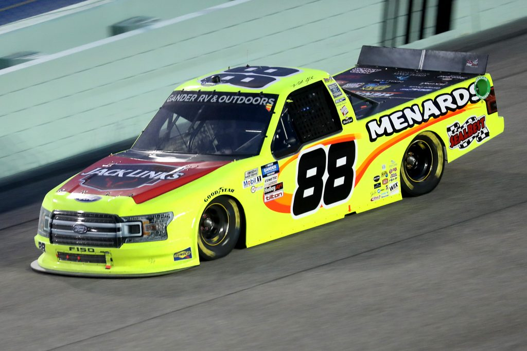 HOMESTEAD, FLORIDA - JUNE 13: Matt Crafton, driver of the #88 Jack Links/Menards Ford, races during the NASCAR Gander RV & Outdoors Truck Series Baptist Health 200 at Homestead-Miami Speedway on June 13, 2020 in Homestead, Florida. (Photo by Chris Graythen/Getty Images) | Getty Images