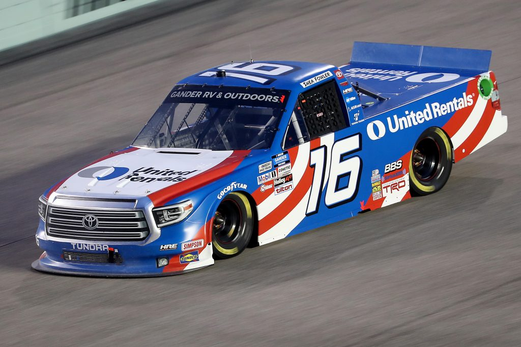 HOMESTEAD, FLORIDA - JUNE 13: Austin Hill, driver of the #16 United Rentals Toyota, races during the NASCAR Gander RV & Outdoors Truck Series Baptist Health 200 at Homestead-Miami Speedway on June 13, 2020 in Homestead, Florida. (Photo by Chris Graythen/Getty Images) | Getty Images
