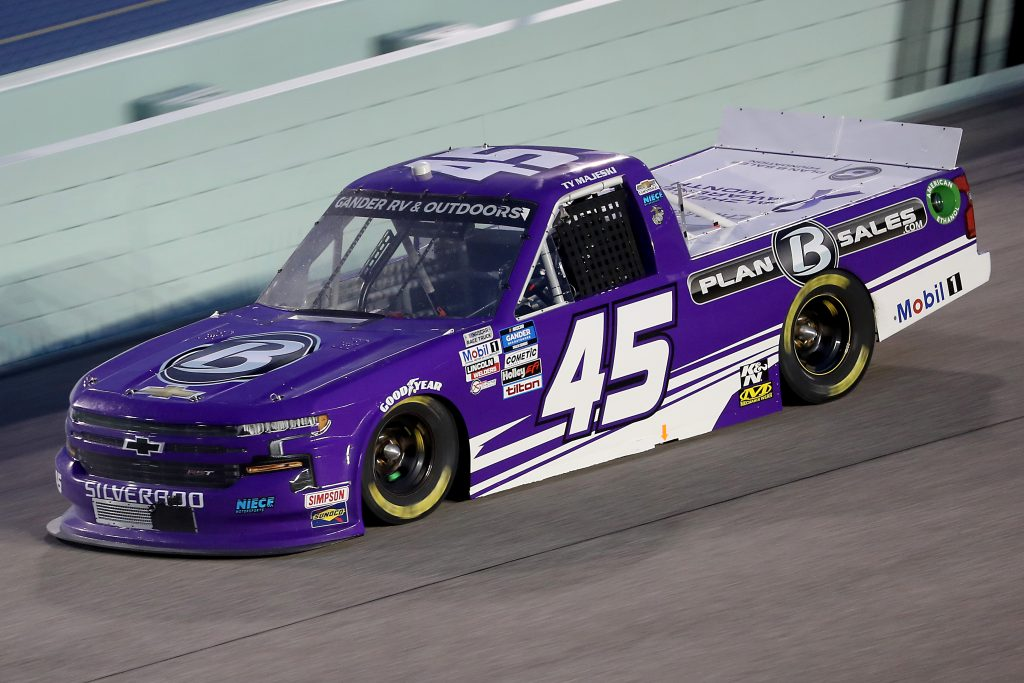 HOMESTEAD, FLORIDA - JUNE 13: Ty Majeski, driver of the #45 Plan B Sales Chevrolet, races during the NASCAR Gander RV & Outdoors Truck Series Baptist Health 200 at Homestead-Miami Speedway on June 13, 2020 in Homestead, Florida. (Photo by Chris Graythen/Getty Images) | Getty Images