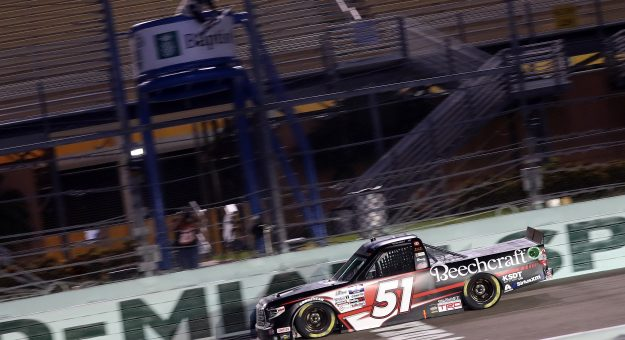 HOMESTEAD, FLORIDA - JUNE 13: Kyle Busch, driver of the #51 Cessna Toyota, crosses the finish line to win the NASCAR Gander RV & Outdoors Truck Series Baptist Health 200 at Homestead-Miami Speedway on June 13, 2020 in Homestead, Florida. (Photo by Chris Graythen/Getty Images)   Getty Images
