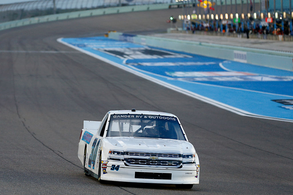 HOMESTEAD, FLORIDA - JUNE 13: Bryant Barnhill, driver of the #34 RBR Graphics Chevrolet, races during the NASCAR Gander RV & Outdoors Truck Series Baptist Health 200 at Homestead-Miami Speedway on June 13, 2020 in Homestead, Florida. (Photo by Michael Reaves/Getty Images) | Getty Images