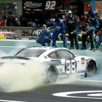 HOMESTEAD, FLORIDA - JUNE 14: Chase Briscoe, driver of the #98 Ford Performance Racing School Ford, celebrates with a burnout after winning the NASCAR Xfinity Series Contender Boats 250 at Homestead-Miami Speedway on June 14, 2020 in Homestead, Florida. (Photo by Michael Reaves/Getty Images) | Getty Images
