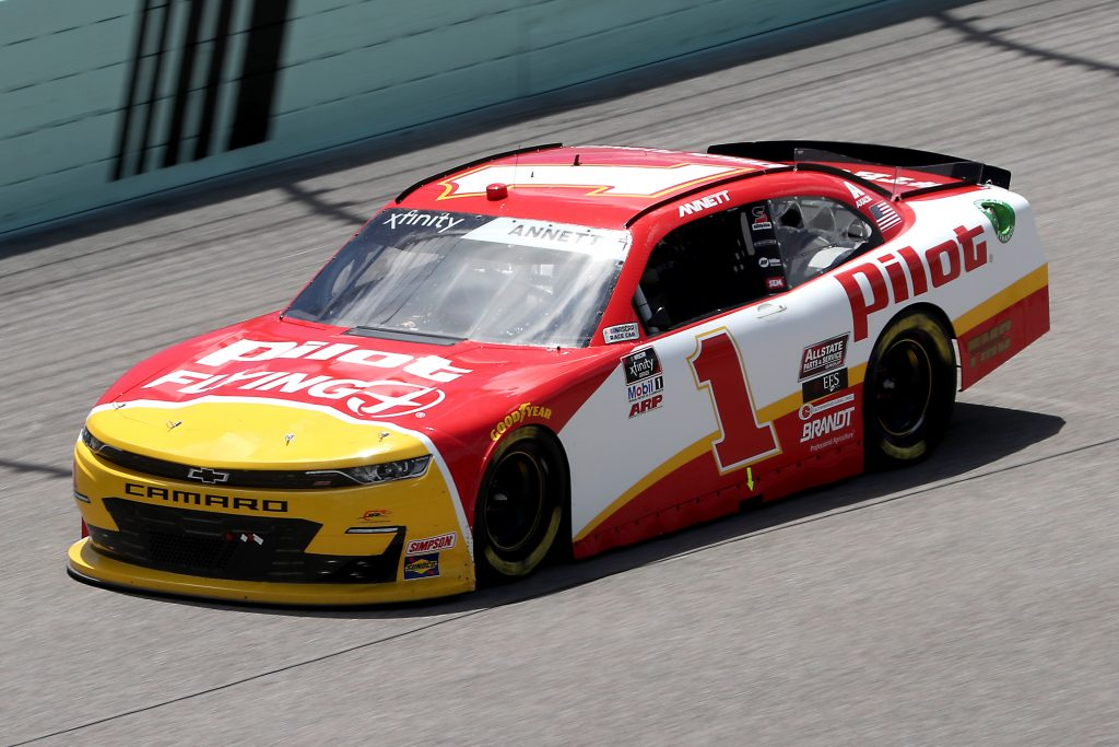 HOMESTEAD, FLORIDA - JUNE 14: Michael Annett, driver of the #1 Pilot Flying J Chevrolet, races during the NASCAR Xfinity Series Contender Boats 250 at Homestead-Miami Speedway on June 14, 2020 in Homestead, Florida. (Photo by Chris Graythen/Getty Images) | Getty Images