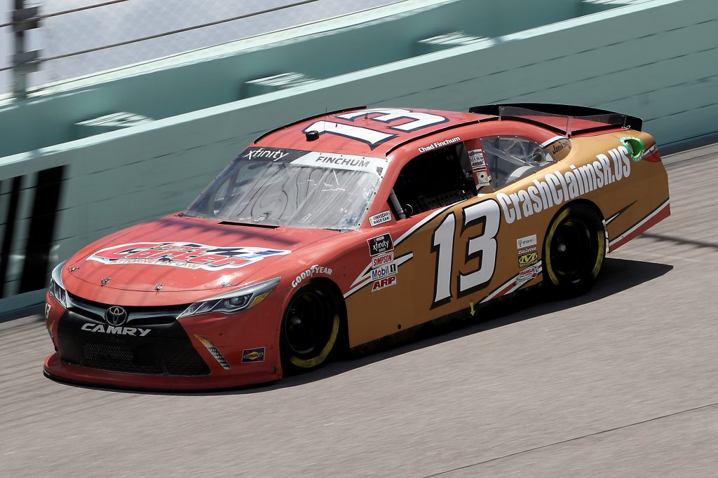 HOMESTEAD, FLORIDA - JUNE 14: Chad Finchum, driver of the #13 CrashClaimsR.us Toyota, races during the NASCAR Xfinity Series Contender Boats 250 at Homestead-Miami Speedway on June 14, 2020 in Homestead, Florida. (Photo by Chris Graythen/Getty Images) | Getty Images