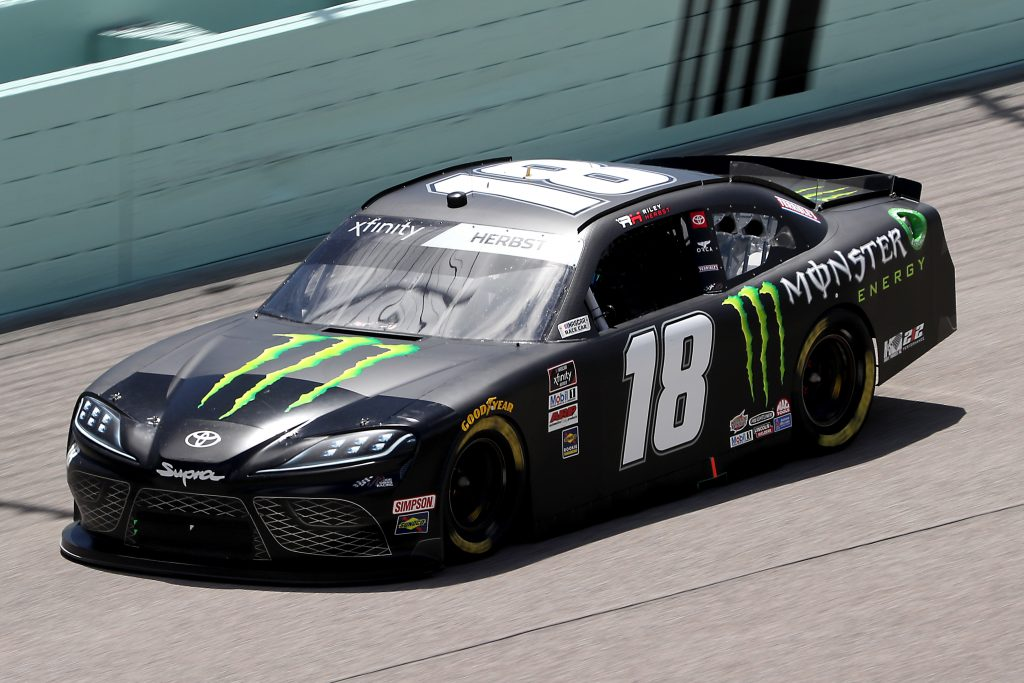 HOMESTEAD, FLORIDA - JUNE 14: Riley Herbst, driver of the #18 Monster Energy Toyota, races during the NASCAR Xfinity Series Contender Boats 250 at Homestead-Miami Speedway on June 14, 2020 in Homestead, Florida. (Photo by Chris Graythen/Getty Images) | Getty Images