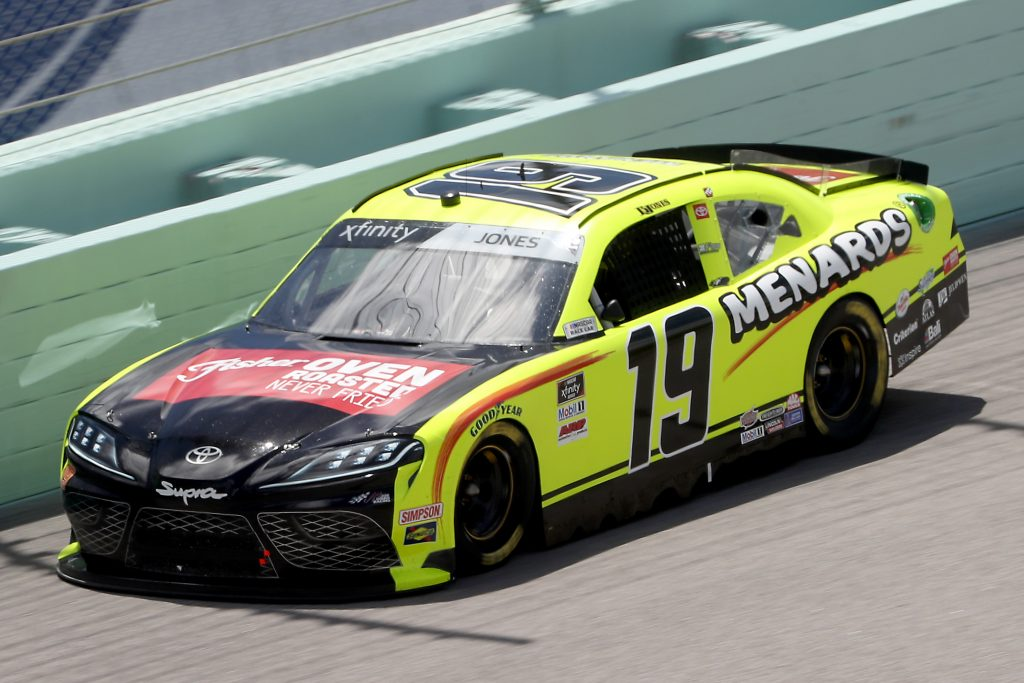 HOMESTEAD, FLORIDA - JUNE 14: Brandon Jones, driver of the #19 Menards/Fisher Toyota, races during the NASCAR Xfinity Series Contender Boats 250 at Homestead-Miami Speedway on June 14, 2020 in Homestead, Florida. (Photo by Chris Graythen/Getty Images) | Getty Images