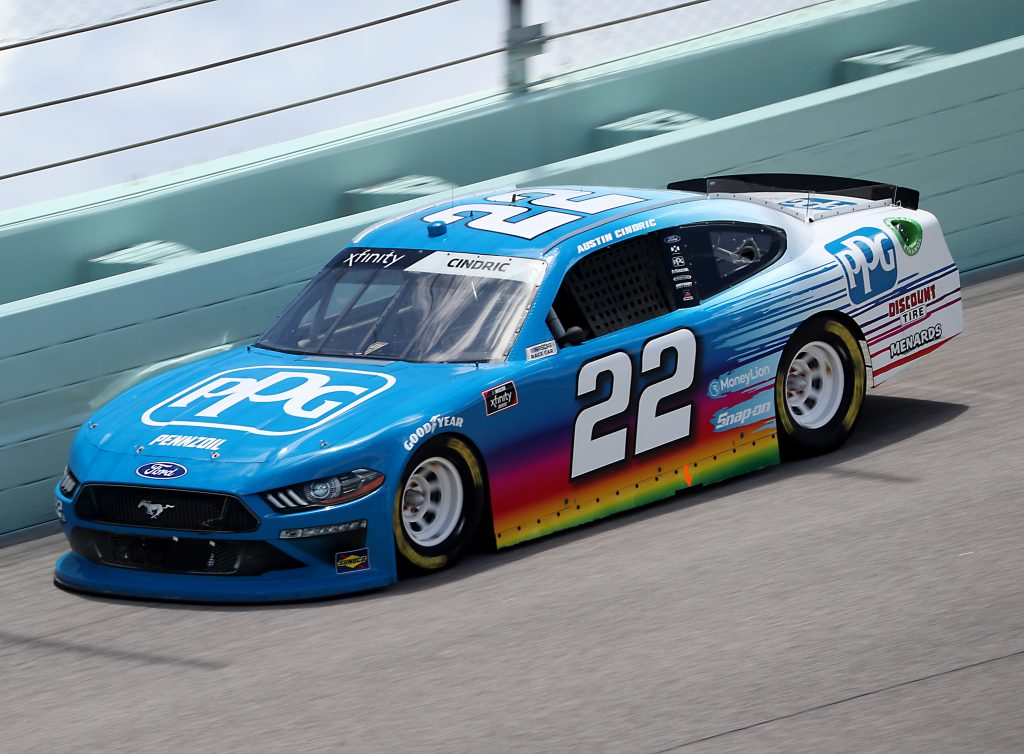 HOMESTEAD, FLORIDA - JUNE 14: Austin Cindric, driver of the #22 PPG Ford, races during the NASCAR Xfinity Series Contender Boats 250 at Homestead-Miami Speedway on June 14, 2020 in Homestead, Florida. (Photo by Chris Graythen/Getty Images) | Getty Images