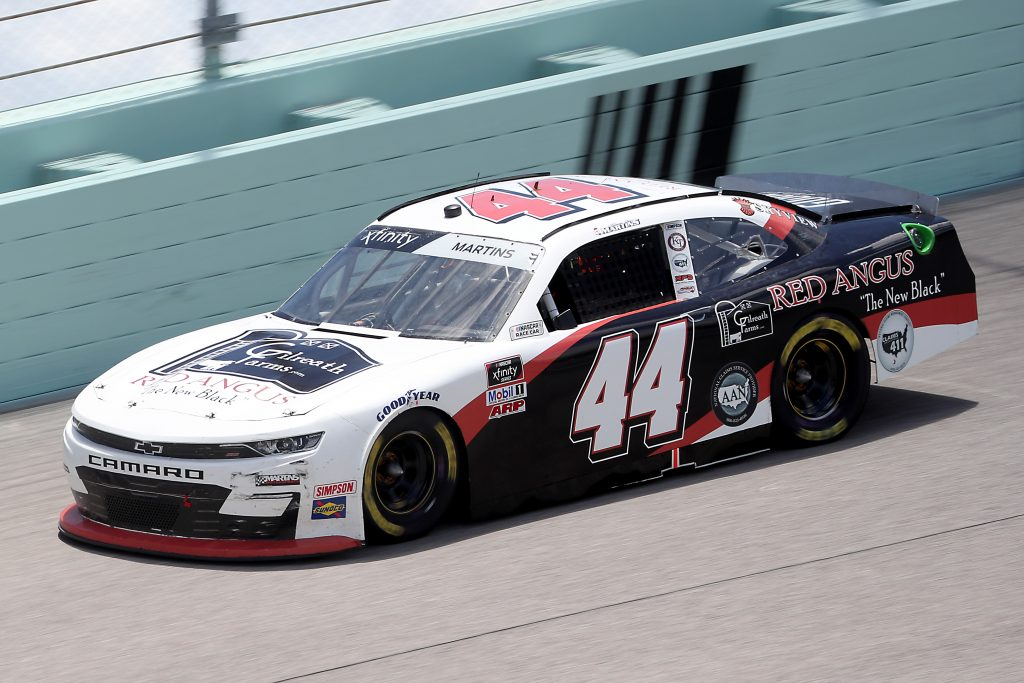 HOMESTEAD, FLORIDA - JUNE 14: Tommy Joe Martins, driver of the #44 Gilreath Farms Red Angus Chevrolet, races during the NASCAR Xfinity Series Contender Boats 250 at Homestead-Miami Speedway on June 14, 2020 in Homestead, Florida. (Photo by Chris Graythen/Getty Images) | Getty Images