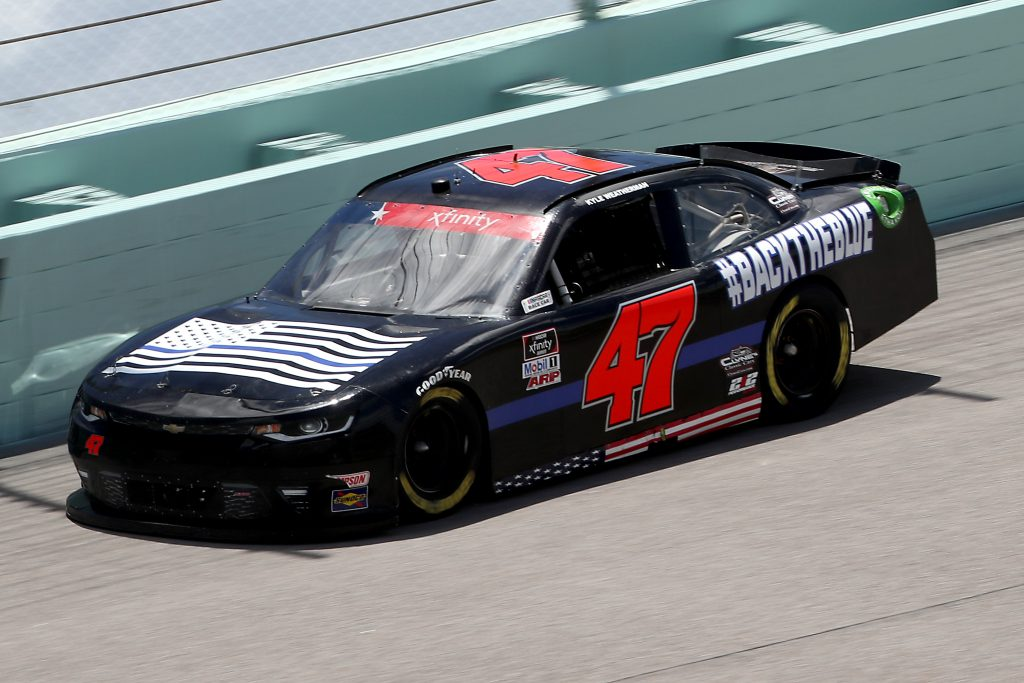 HOMESTEAD, FLORIDA - JUNE 14: Kyle Weatherman, driver of the #47 Back The Blue Chevrolet, races during the NASCAR Xfinity Series Contender Boats 250 at Homestead-Miami Speedway on June 14, 2020 in Homestead, Florida. (Photo by Chris Graythen/Getty Images) | Getty Images