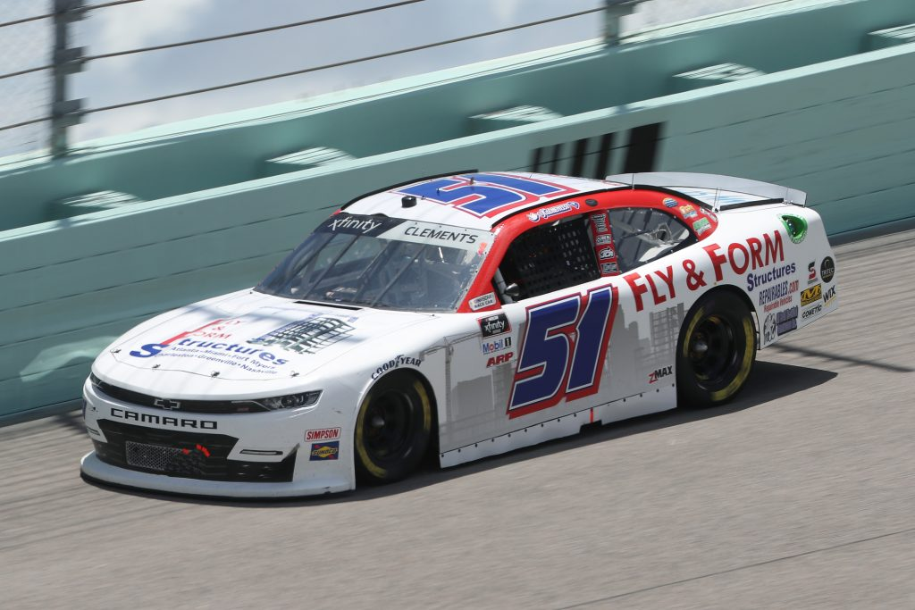 HOMESTEAD, FLORIDA - JUNE 14: Jeremy Clements, driver of the #51 Fly and Form Structures Chevrolet, races during the NASCAR Xfinity Series Contender Boats 250 at Homestead-Miami Speedway on June 14, 2020 in Homestead, Florida. (Photo by Chris Graythen/Getty Images) | Getty Images