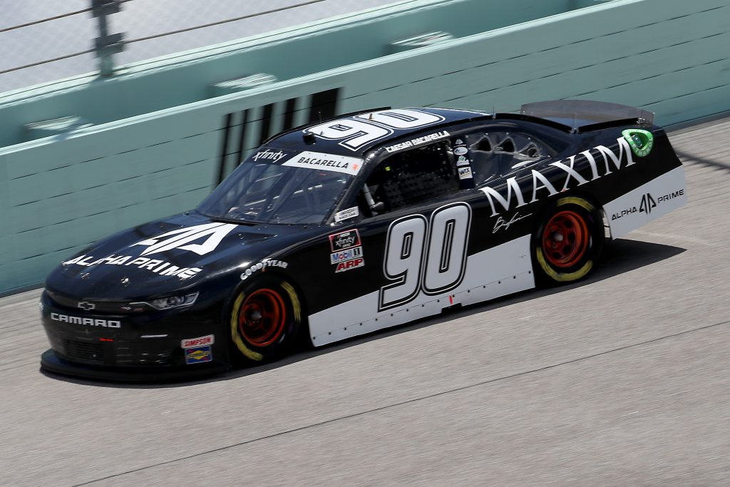 HOMESTEAD, FLORIDA - JUNE 14: Caesar Bacarella, driver of the #90 Alpha Prime/Maxim Chevrolet, races during the NASCAR Xfinity Series Contender Boats 250 at Homestead-Miami Speedway on June 14, 2020 in Homestead, Florida. (Photo by Chris Graythen/Getty Images) | Getty Images