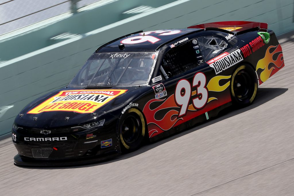 HOMESTEAD, FLORIDA - JUNE 14: Myatt Snider, driver of the #93 Louisiana Hot Sauce Chevrolet, races during the NASCAR Xfinity Series Contender Boats 250 at Homestead-Miami Speedway on June 14, 2020 in Homestead, Florida. (Photo by Chris Graythen/Getty Images) | Getty Images