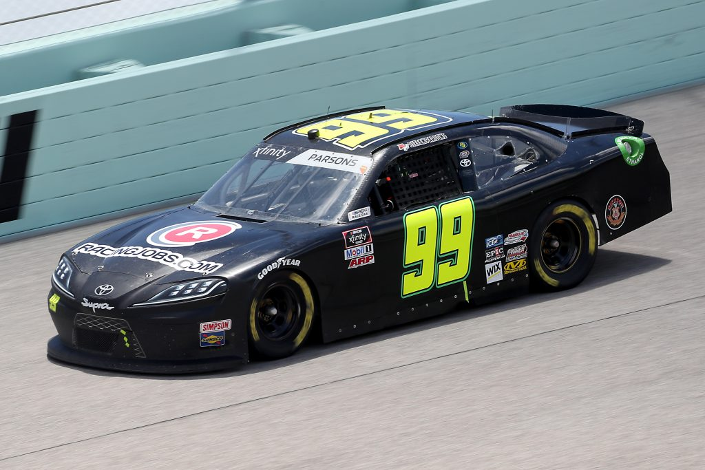 HOMESTEAD, FLORIDA - JUNE 14: Stefan Parsons, driver of the #99 RACINGJOBS.COM Toyota, races during the NASCAR Xfinity Series Contender Boats 250 at Homestead-Miami Speedway on June 14, 2020 in Homestead, Florida. (Photo by Chris Graythen/Getty Images) | Getty Images