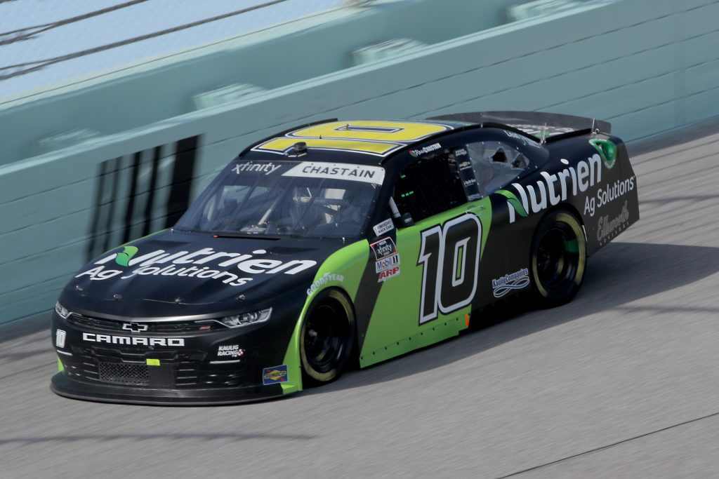 HOMESTEAD, FLORIDA - JUNE 13: Ross Chastain, driver of the #10 Nutrien Ag Solutions Chevrolet, races during the NASCAR Xfinity Series Hooters 250 at Homestead-Miami Speedway on June 13, 2020 in Homestead, Florida. (Photo by Chris Graythen/Getty Images) | Getty Images