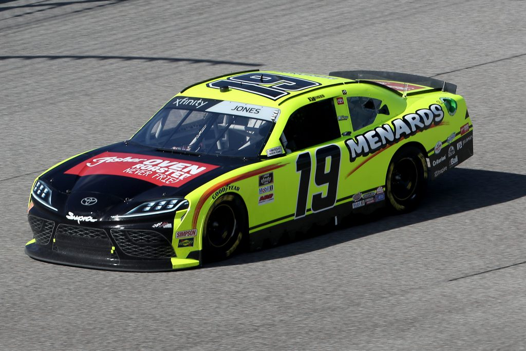 HOMESTEAD, FLORIDA - JUNE 13: Brandon Jones, driver of the #19 Menards/Fisher Toyota, races during the NASCAR Xfinity Series Hooters 250 at Homestead-Miami Speedway on June 13, 2020 in Homestead, Florida. (Photo by Chris Graythen/Getty Images) | Getty Images