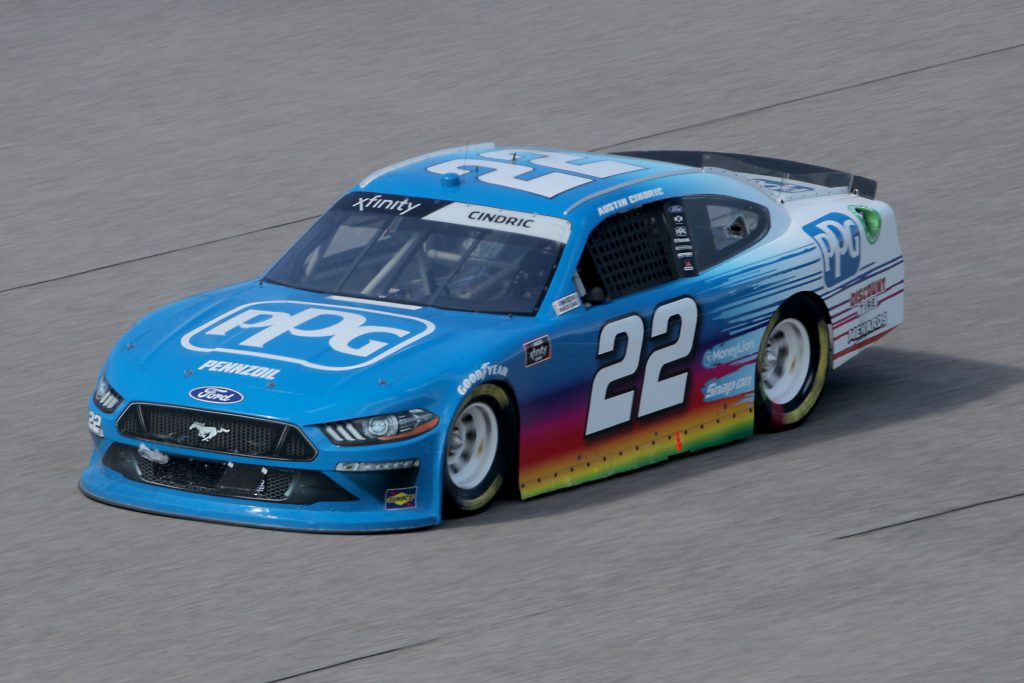 HOMESTEAD, FLORIDA - JUNE 13: Austin Cindric, driver of the #22 PPG Ford, races during the NASCAR Xfinity Series Hooters 250 at Homestead-Miami Speedway on June 13, 2020 in Homestead, Florida. (Photo by Chris Graythen/Getty Images)   Getty Images