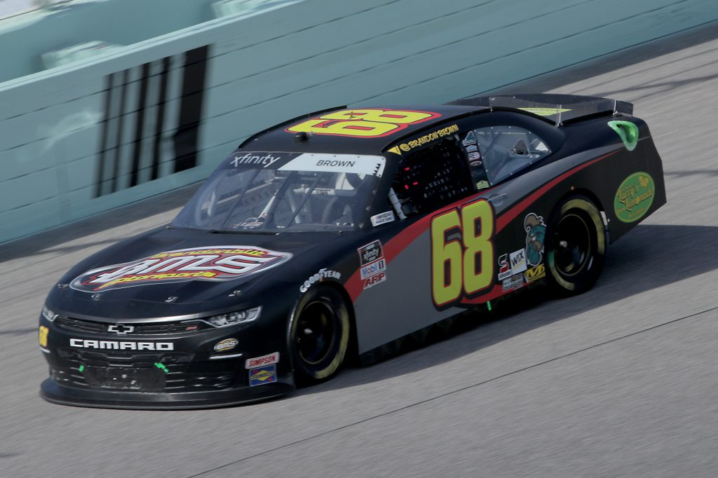 HOMESTEAD, FLORIDA - JUNE 13: Brandon Brown, driver of the #68 bmsraceteam.com Chevrolet, races during the NASCAR Xfinity Series Hooters 250 at Homestead-Miami Speedway on June 13, 2020 in Homestead, Florida. (Photo by Chris Graythen/Getty Images) | Getty Images