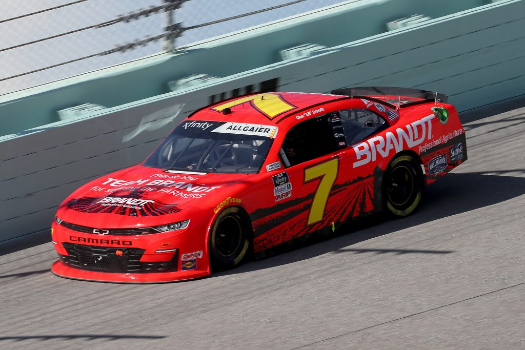 HOMESTEAD, FLORIDA - JUNE 13: Justin Allgaier, driver of the #7 Thank You Team BRANDT Chevrolet, races during the NASCAR Xfinity Series Hooters 250 at Homestead-Miami Speedway on June 13, 2020 in Homestead, Florida. (Photo by Chris Graythen/Getty Images) | Getty Images