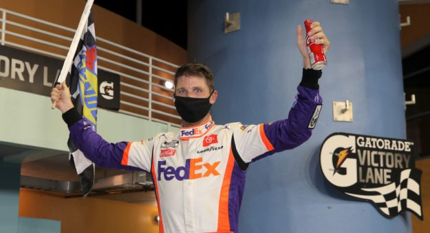 HOMESTEAD, FLORIDA - JUNE 14: Denny Hamlin, driver of the #11 Toyota, celebrates in Victory Lane after winning the NASCAR Cup Series Dixie Vodka 400 at Homestead-Miami Speedway on June 14, 2020 in Homestead, Florida. (Photo by Chris Graythen/Getty Images) | Getty Images