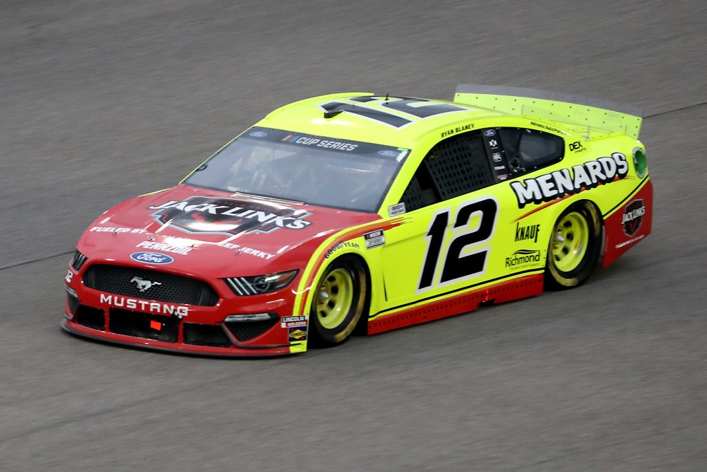 HOMESTEAD, FLORIDA - JUNE 14: Ryan Blaney, driver of the #12 Menards/Jack Links Ford, races during the NASCAR Cup Series Dixie Vodka 400 at Homestead-Miami Speedway on June 14, 2020 in Homestead, Florida. (Photo by Chris Graythen/Getty Images) | Getty Images