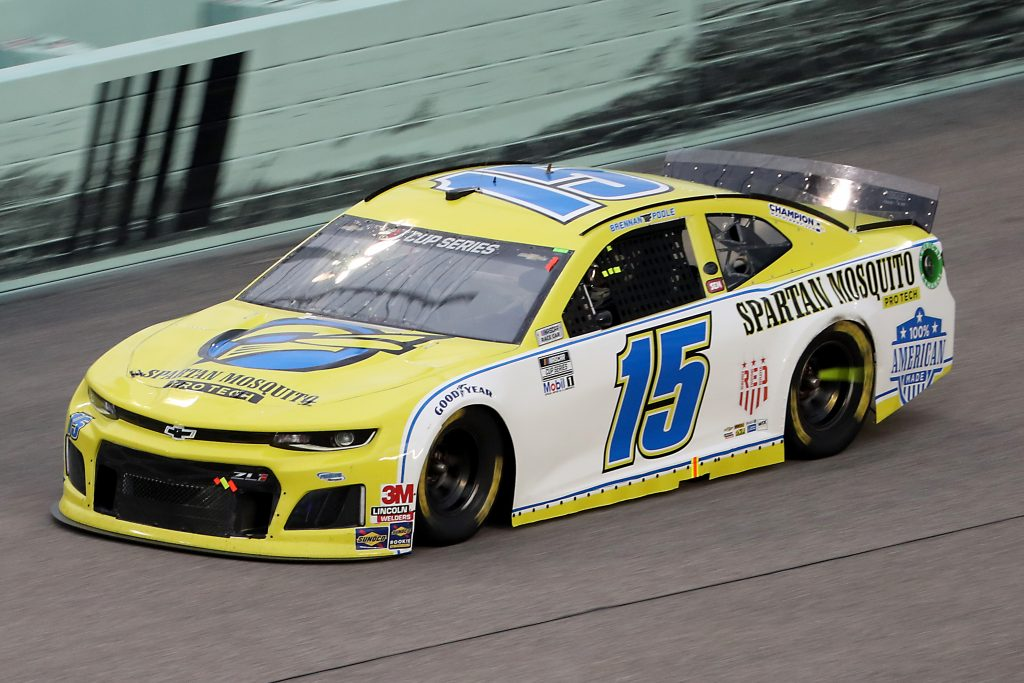 HOMESTEAD, FLORIDA - JUNE 14: Brennan Poole, driver of the #15 Chevrolet, races during the NASCAR Cup Series Dixie Vodka 400 at Homestead-Miami Speedway on June 14, 2020 in Homestead, Florida. (Photo by Chris Graythen/Getty Images) | Getty Images