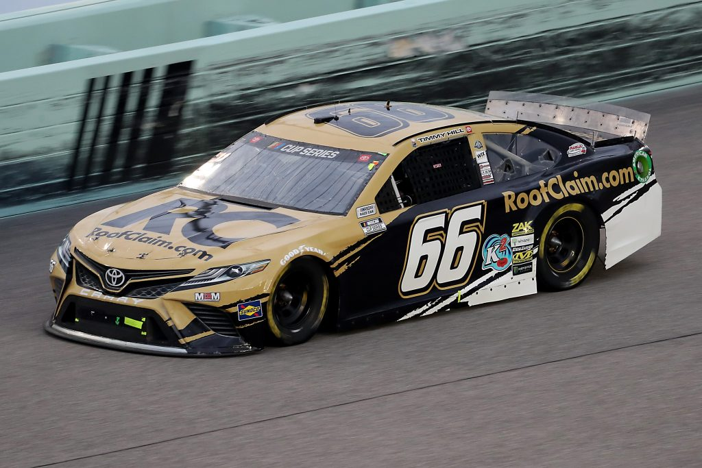 HOMESTEAD, FLORIDA - JUNE 14: Timmy Hill, driver of the #66 RoofClaim.com Toyota, races during the NASCAR Cup Series Dixie Vodka 400 at Homestead-Miami Speedway on June 14, 2020 in Homestead, Florida. (Photo by Chris Graythen/Getty Images) | Getty Images