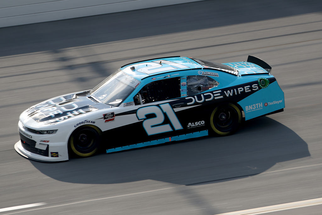 TALLADEGA, ALABAMA - JUNE 20: Anthony Alfredo, driver of the #21 DUDE Wipes Chevrolet, drives during the NASCAR Xfinity Series Unhinged 300 at Talladega Superspeedway on June 20, 2020 in Talladega, Alabama. (Photo by Chris Graythen/Getty Images) | Getty Images