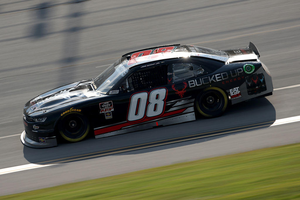 TALLADEGA, ALABAMA - JUNE 20: Joe Graf Jr., driver of the #08 Bucked Up Energy Chevrolet, drives during the NASCAR Xfinity Series Unhinged 300 at Talladega Superspeedway on June 20, 2020 in Talladega, Alabama. (Photo by Chris Graythen/Getty Images) | Getty Images