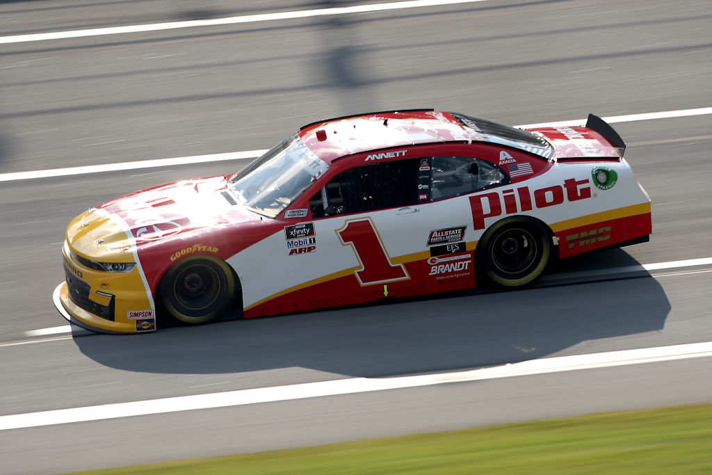 TALLADEGA, ALABAMA - JUNE 20: Michael Annett, driver of the #1 Pilot/Flying J Chevrolet, drives during the NASCAR Xfinity Series Unhinged 300 at Talladega Superspeedway on June 20, 2020 in Talladega, Alabama. (Photo by Chris Graythen/Getty Images) | Getty Images
