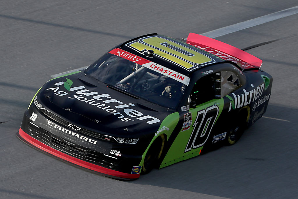 TALLADEGA, ALABAMA - JUNE 20: Ross Chastain, driver of the #10 Nutrien Ag Solutions Chevrolet, drives during the NASCAR Xfinity Series Unhinged 300 at Talladega Superspeedway on June 20, 2020 in Talladega, Alabama. (Photo by Chris Graythen/Getty Images) | Getty Images