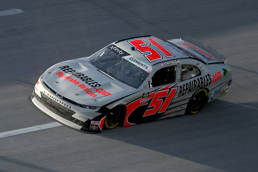 TALLADEGA, ALABAMA - JUNE 20: Jeremy Clements, driver of the #51 RepairableVehicles.com Chevrolet, drives during the NASCAR Xfinity Series Unhinged 300 at Talladega Superspeedway on June 20, 2020 in Talladega, Alabama. (Photo by Chris Graythen/Getty Images) | Getty Images