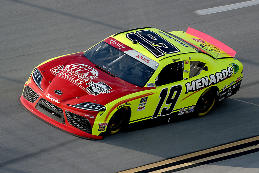 TALLADEGA, ALABAMA - JUNE 20: Brandon Jones, driver of the #19 Menards/Atlas Toyota, drives during the NASCAR Xfinity Series Unhinged 300 at Talladega Superspeedway on June 20, 2020 in Talladega, Alabama. (Photo by Chris Graythen/Getty Images) | Getty Images