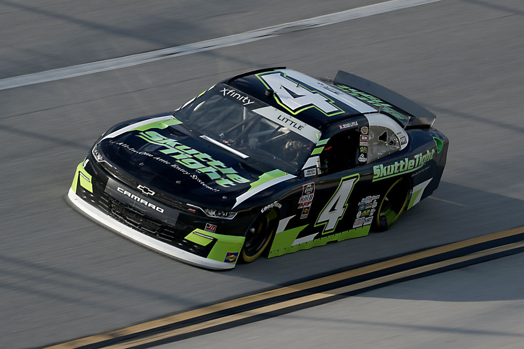 TALLADEGA, ALABAMA - JUNE 20: Jesse Little, driver of the #4 Skuttletight Chevrolet, drives during the NASCAR Xfinity Series Unhinged 300 at Talladega Superspeedway on June 20, 2020 in Talladega, Alabama. (Photo by Chris Graythen/Getty Images) | Getty Images