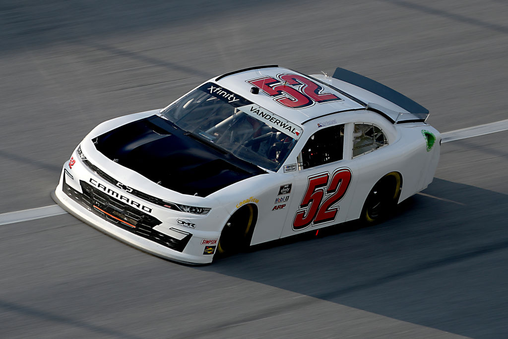 TALLADEGA, ALABAMA - JUNE 20: Kody Vanderwal, driver of the #52 ADVANCED DAIRY SERVICE Chevrolet, drives during the NASCAR Xfinity Series Unhinged 300 at Talladega Superspeedway on June 20, 2020 in Talladega, Alabama. (Photo by Chris Graythen/Getty Images) | Getty Images
