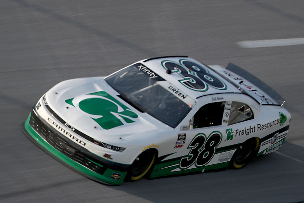 TALLADEGA, ALABAMA - JUNE 20: Jeff Green, driver of the #38 C2 Freight Resources Chevrolet, drives during the NASCAR Xfinity Series Unhinged 300 at Talladega Superspeedway on June 20, 2020 in Talladega, Alabama. (Photo by Chris Graythen/Getty Images) | Getty Images