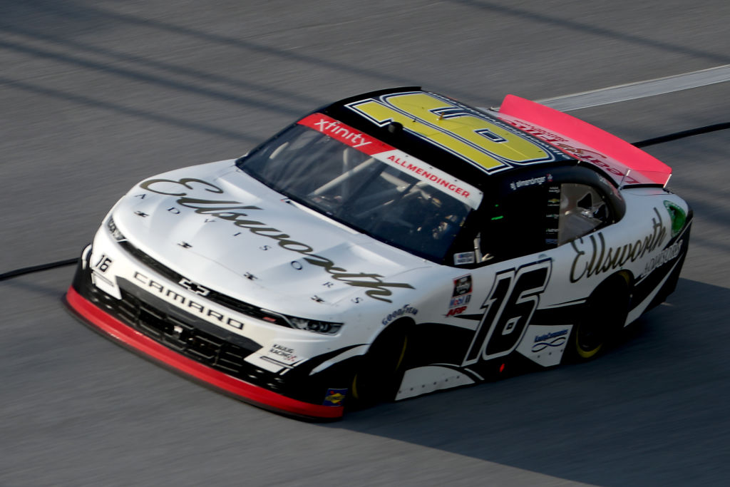 TALLADEGA, ALABAMA - JUNE 20: AJ Allmendinger, driver of the #16 Ellsworth Advisors Chevrolet, drives during the NASCAR Xfinity Series Unhinged 300 at Talladega Superspeedway on June 20, 2020 in Talladega, Alabama. (Photo by Chris Graythen/Getty Images) | Getty Images
