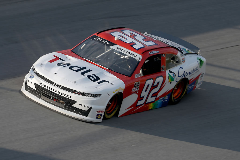TALLADEGA, ALABAMA - JUNE 20: Josh Williams, driver of the #92 Tedlar/General Formulations Chevrolet, drives during the NASCAR Xfinity Series Unhinged 300 at Talladega Superspeedway on June 20, 2020 in Talladega, Alabama. (Photo by Chris Graythen/Getty Images) | Getty Images