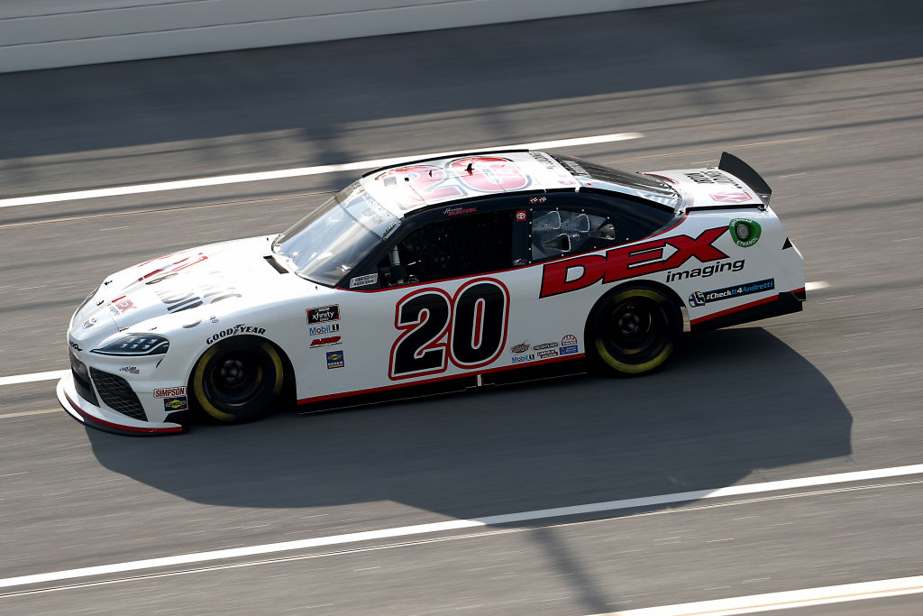 TALLADEGA, ALABAMA - JUNE 20: Harrison Burton, driver of the #20 Morton Buildings/DEX Imaging Toyota, drives during the NASCAR Xfinity Series Unhinged 300 at Talladega Superspeedway on June 20, 2020 in Talladega, Alabama. (Photo by Chris Graythen/Getty Images) | Getty Images