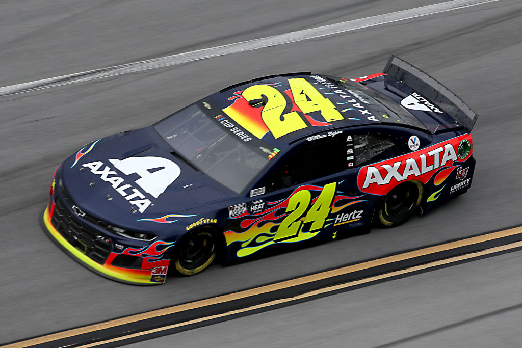 TALLADEGA, ALABAMA - JUNE 22:  William Byron, driver of the #24 Axalta Chevrolet, races during the NASCAR Cup Series GEICO 500 at Talladega Superspeedway on June 22, 2020 in Talladega, Alabama. (Photo by Chris Graythen/Getty Images) | Getty Images
