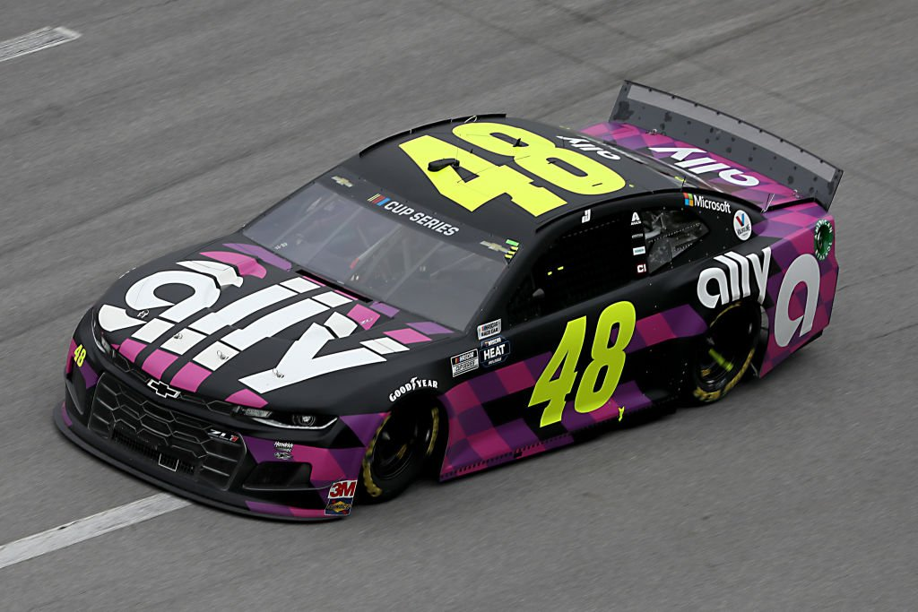 TALLADEGA, ALABAMA - JUNE 22:  Jimmie Johnson, driver of the #48 Ally Chevrolet, races during the NASCAR Cup Series GEICO 500 at Talladega Superspeedway on June 22, 2020 in Talladega, Alabama. (Photo by Chris Graythen/Getty Images) | Getty Images