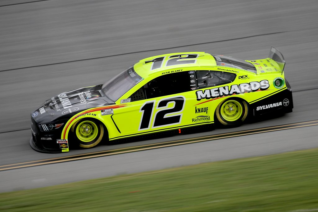 TALLADEGA, ALABAMA - JUNE 22: Ryan Blaney, driver of the #12 Menards/Sylvania Ford, drives during the NASCAR Cup Series GEICO 500 at Talladega Superspeedway on June 22, 2020 in Talladega, Alabama. (Photo by Chris Graythen/Getty Images) | Getty Images