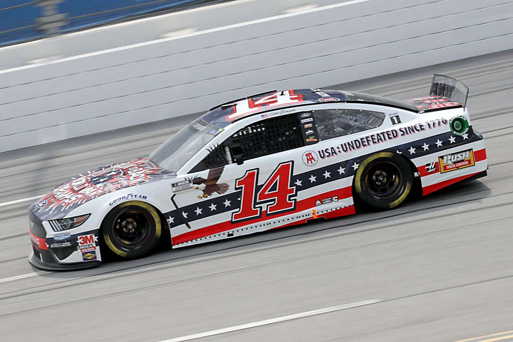 TALLADEGA, ALABAMA - JUNE 22: Clint Bowyer, driver of the #14 Barstool Sports America Ford, drives during the NASCAR Cup Series GEICO 500 at Talladega Superspeedway on June 22, 2020 in Talladega, Alabama. (Photo by Chris Graythen/Getty Images) | Getty Images