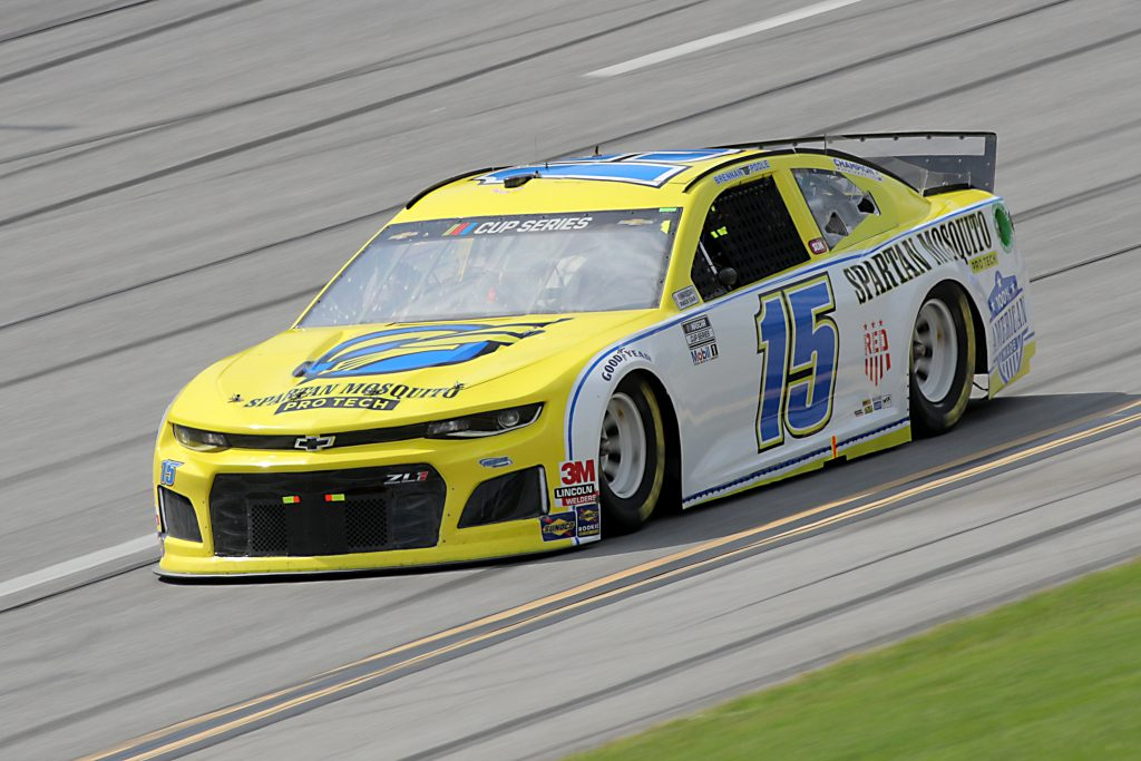 TALLADEGA, ALABAMA - JUNE 22: Brennan Poole, driver of the #15 Remember Everyone Deployed Chevrolet, drives during the NASCAR Cup Series GEICO 500 at Talladega Superspeedway on June 22, 2020 in Talladega, Alabama. (Photo by Chris Graythen/Getty Images)   Getty Images