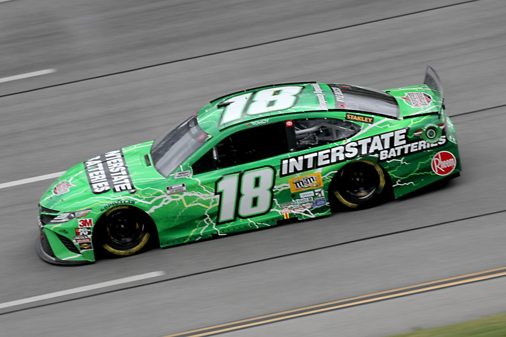 TALLADEGA, ALABAMA - JUNE 22: Kyle Busch, driver of the #18 Interstate Batteries Toyota, drives during the NASCAR Cup Series GEICO 500 at Talladega Superspeedway on June 22, 2020 in Talladega, Alabama. (Photo by Chris Graythen/Getty Images) | Getty Images