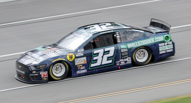 TALLADEGA, ALABAMA - JUNE 22:  Corey LaJoie, driver of the #32 WallStBookie.com Ford, drives during the NASCAR Cup Series GEICO 500 at Talladega Superspeedway on June 22, 2020 in Talladega, Alabama. (Photo by Chris Graythen/Getty Images) | Getty Images