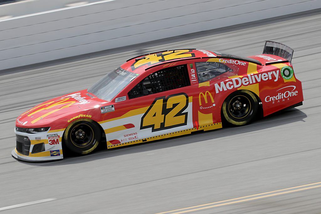 TALLADEGA, ALABAMA - JUNE 22: Matt Kenseth, driver of the #42 McDonald's Chevrolet, drives during the NASCAR Cup Series GEICO 500 at Talladega Superspeedway on June 22, 2020 in Talladega, Alabama. (Photo by Chris Graythen/Getty Images) | Getty Images
