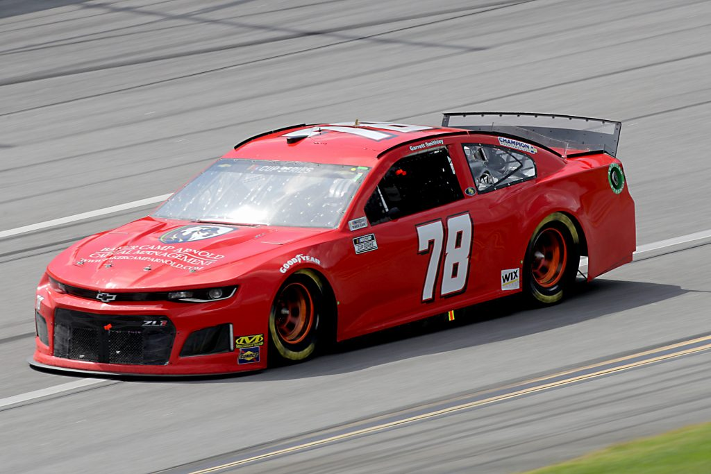 TALLADEGA, ALABAMA - JUNE 22: Garrett Smithley, driver of the #78 Baker Camp Arnold Capital Management Chev, drives during the NASCAR Cup Series GEICO 500 at Talladega Superspeedway on June 22, 2020 in Talladega, Alabama. (Photo by Chris Graythen/Getty Images) | Getty Images